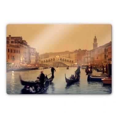 Glasbild Sunset in Venice