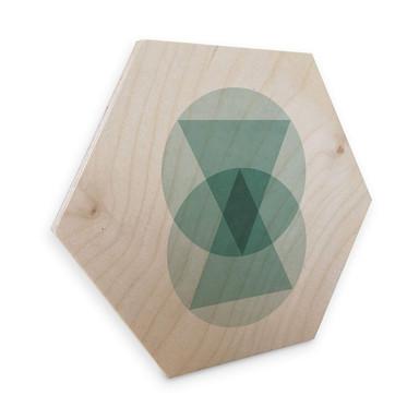 Hexagon - Holz Birke-Furnier Nouveauprints - Circles & triangles aqua