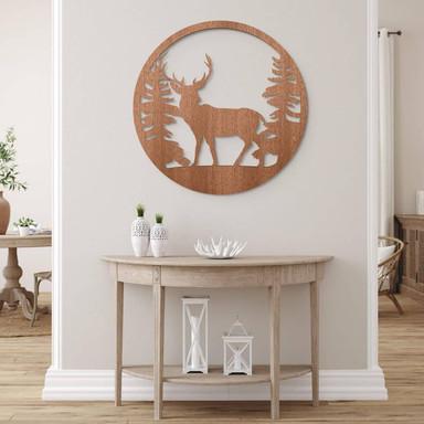 Holzdeko Mahagoni - Hirsch im Wald