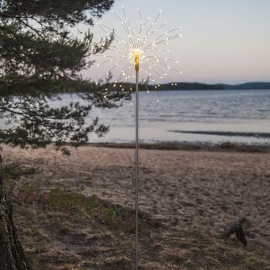LED Erdspiessleuchte Firework in Schwarz Tageslichtweiss