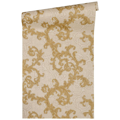 Versace Home Mustertapete Tapete Baroque & Roll Beige, Creme, Metallic