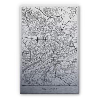 Alu-Dibond-Silbereffekt Stadtplan Frankfurt