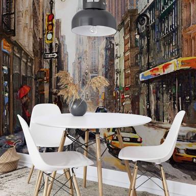 Fototapete Roter Schirm in New York Aquarell