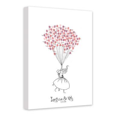 Leinwandbild Fingerprint & Wunschtext - Fliegende Romantik