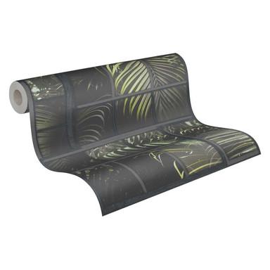 Livingwalls Vliestapete Industrial Palmentapete grau, grün, schwarz