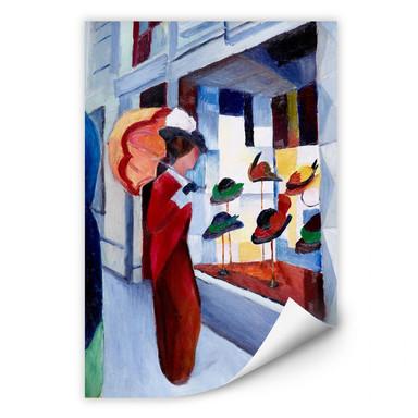 Wallprint Macke - Frau mit Sonnenschirm vor Hutladen