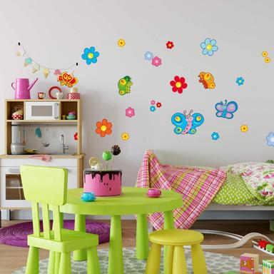 Wandsticker Butterfly Blüten Set