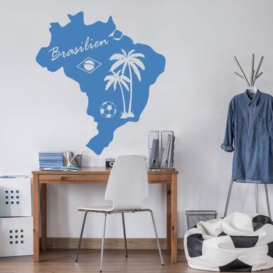Wandtattoo Brasilien Karte