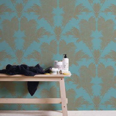 A.S. Création Vliestapete Trendwall 2 Palmentapete tropisch blau, grün, metallic