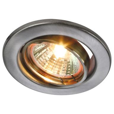 Einbaustrahler rund edelstahl-gebürstet max. 35W mit Alu Reflektor schwenkbar GU53 und 10cmKabel mit AMP-Stecker