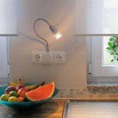 Flexible Wand-Leseleuchte Dio Flex Plug mit GU10-Fassung, mit Stecker