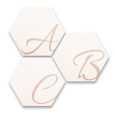 Hexagon Buchstaben - Alu-Dibond Kupfereffekt - Weiss