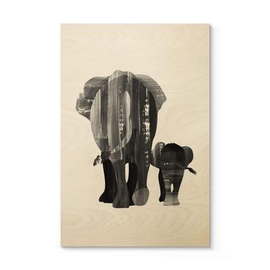 Holzposter Goed Blauw - Elefantenfamilie