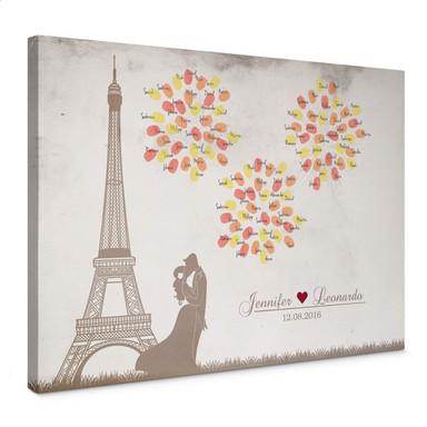 Leinwandbild Fingerprint & Wunschtext - Feuerwerk der Liebe