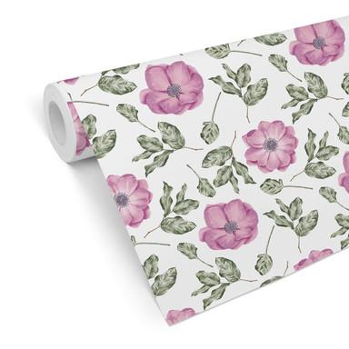 Mustertapete - Aquarell Blüten 05 - rosa
