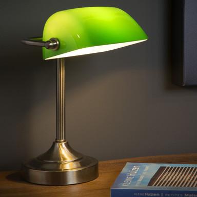 Schreibtischlampe Banker mit grünem Glas, E14