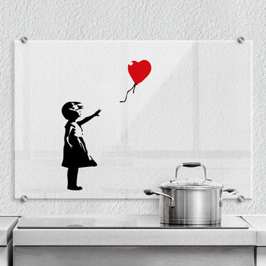 Spritzschutz Banksy - Girl with the red ballon - Transparent