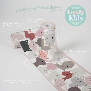 Lovely Kids selbstklebende Kinderzimmer Bordüre Little Cats mit niedlichen Katzen