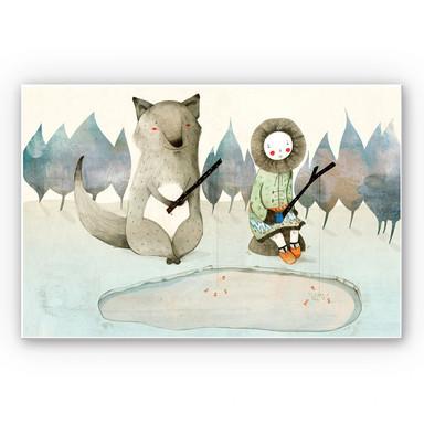 Wandbild Loske - Das kleine Inuitmädchen und der Wolf