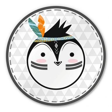 Alu-Dibond - Indianer-Pinguin - Rund