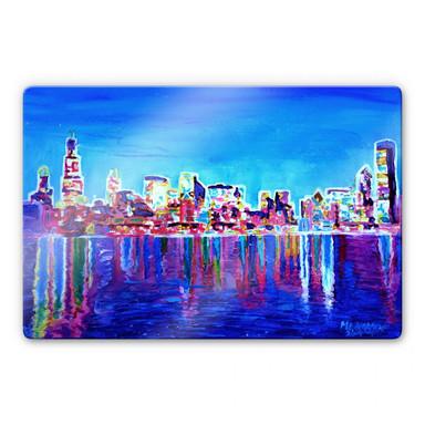 Glasbild Bleichner - Chicago im Neonschimmer