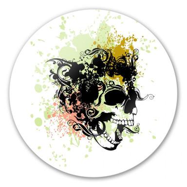 Glasbild Skull Tribal - rund