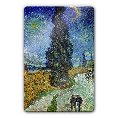 Glasbild van Gogh - Landstrasse mit Zypresse und Stern