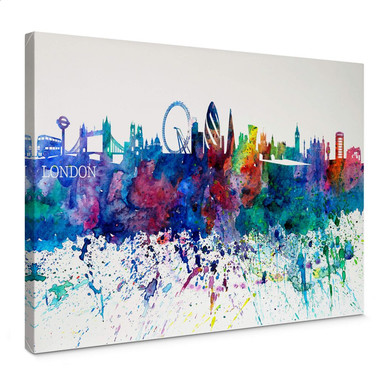 Leinwandbild Bleichner - London Aquarell Skyline