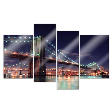 Acrylglasbild Manhattan Bridge at Night 2 (4-teilig)
