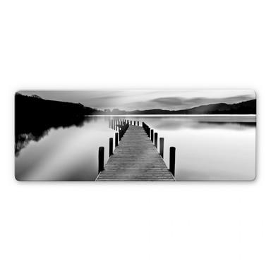 Glasbild Seepanorama - schwarz/weiss