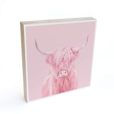 Holzbild zum Hinstellen - Fuentes - Highland Cow - 15x15cm