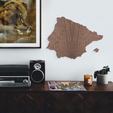 Holzkunst Mahagoni Furnier - Karte Iberische Halbinsel