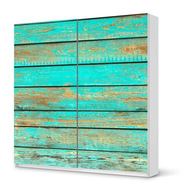 Möbel Klebefolie IKEA Pax Schrank 201cm Höhe - Schiebetür - Wooden Aqua- Bild 1