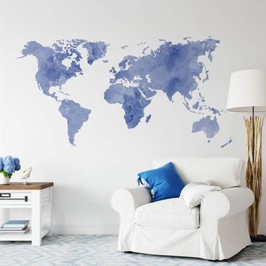 Wandtattoo Aquarell Weltkarte (blau)