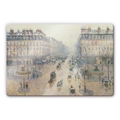Glasbild Pissarro - Die Avenue de l`Opera an einem Wintermorgen