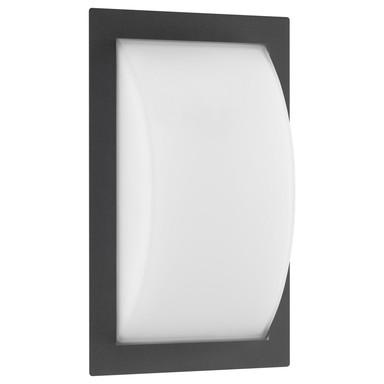 LED Wandleuchte Graphit, 13W, 910lm, 3000K, Aluguss, Opalglas, IP44. 320x192x90mm