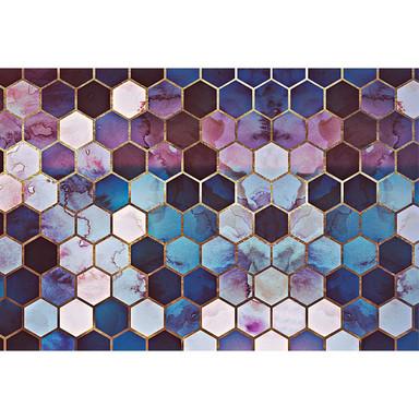 Livingwalls Fototapete ARTist Rugged Marble Marmor blau, gold, violett - Bild 1