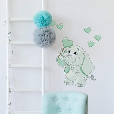 Wandsticker Elefantenbaby mit Herzen (grün)
