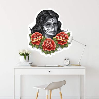 Wandsticker LA Ink Frau mit Sugar Skull