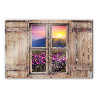 Glasbild 3D Holzfenster - Sonnenuntergang in den Bergen