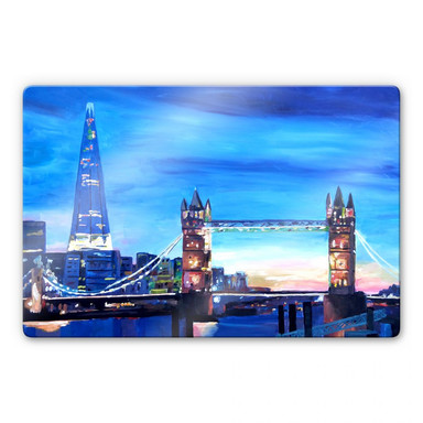 Glasbild Bleichner - London Tower Bridge und The Shard