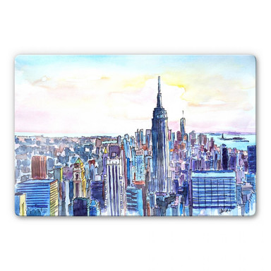 Glasbild Bleichner -  Manhattan Skyline - Aquarell
