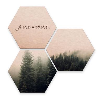 Hexagon - Alu-Dibond-Kupfereffekt - Pure Nature Wald (3er Set)