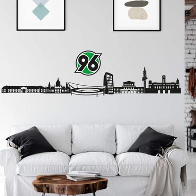Wandtattoo Hannover 96 Skyline mit Logo farbig