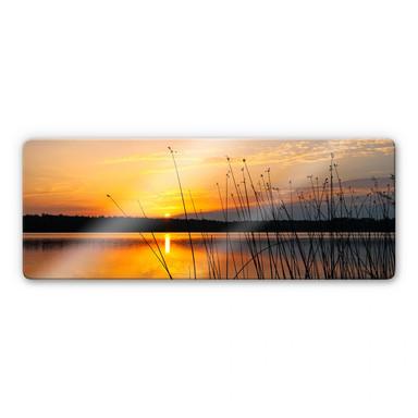 Glasbild Sonnenuntergang am See Panorama