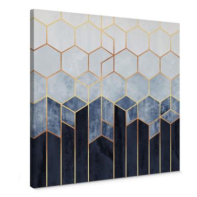 Leinwandbild Fredriksson - Hexagone: Blau und Weiss - quadratisch