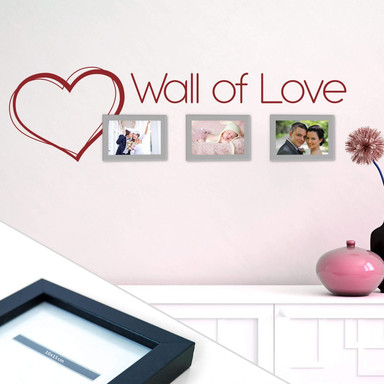 Wandtattoo Wall of Love inkl. 3 Bilderrahmen