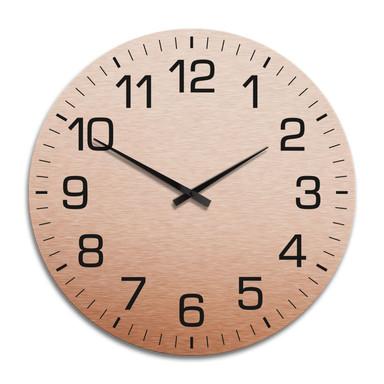 XXL Wanduhr Alu Dibond Kupfereffekt - Klassisch mit Minutenanzeige Ø 70cm - Bild 1