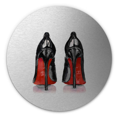 Alu-Dibond-Silbereffekt High Heels - Rund