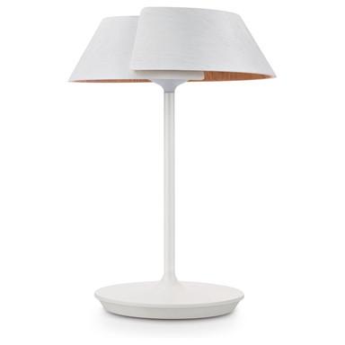 Dekorative InStyle LED-Tischleuchte Nonagon aus hellem Holz in weiss, 500 lm